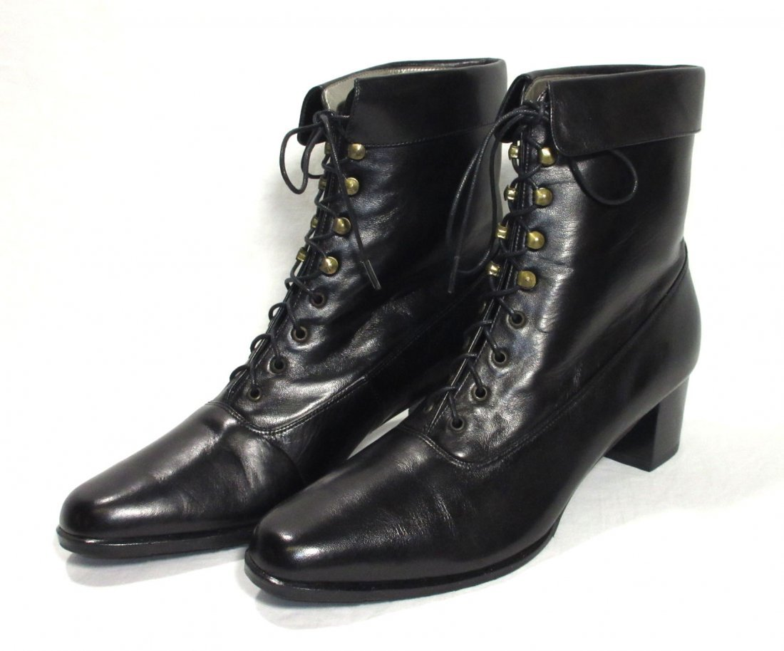 Black Leather Reproduction Victorian Boots
