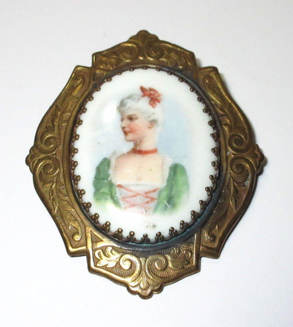 Victorian Porcelain Transfer Brooch