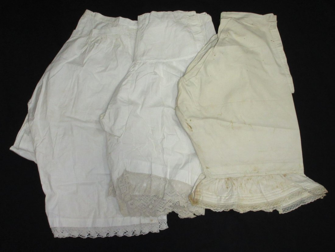 3 Pairs of Victorian Ladies Open Crotch Drawers