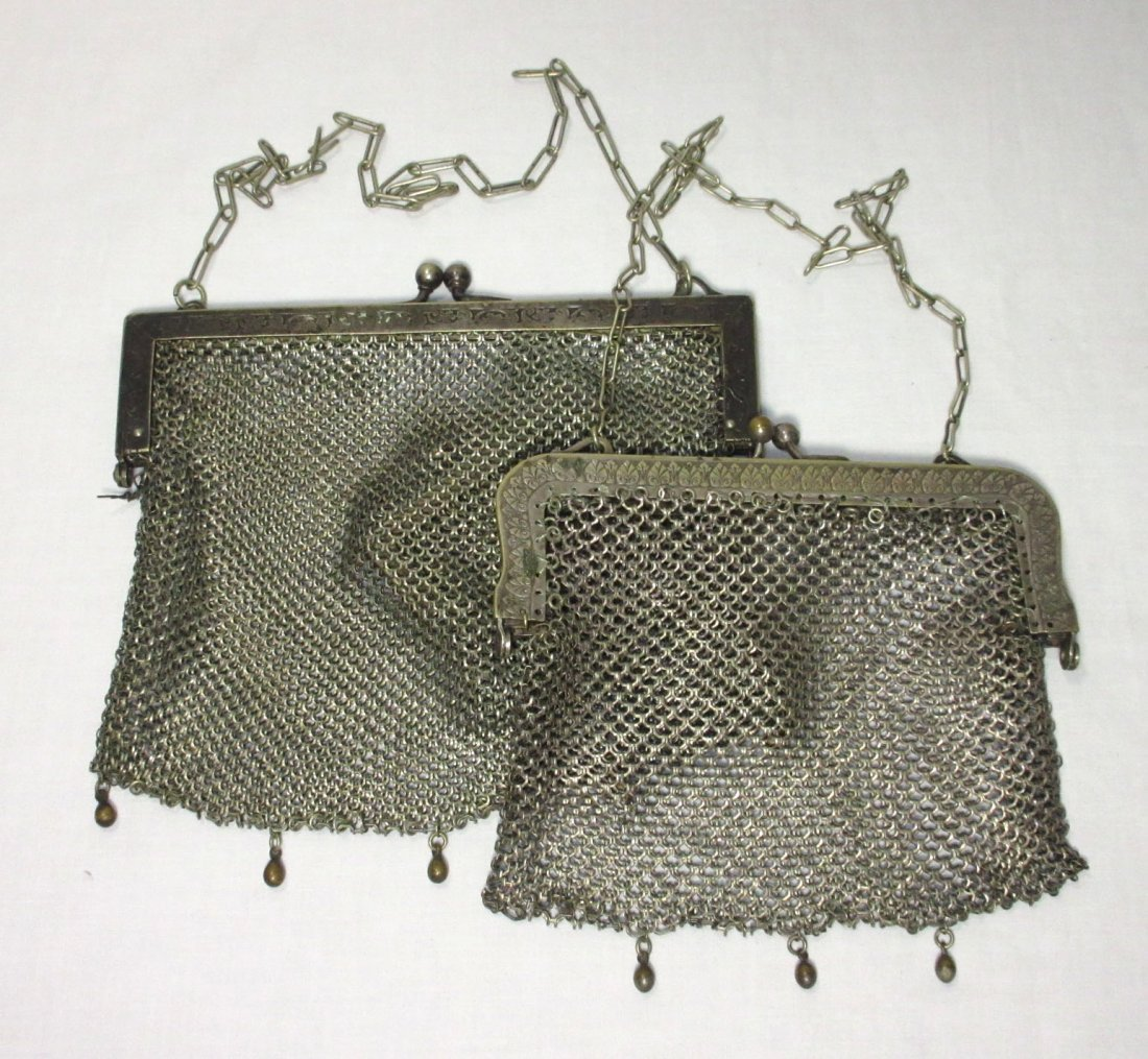 2 German Silver Victorian Bags