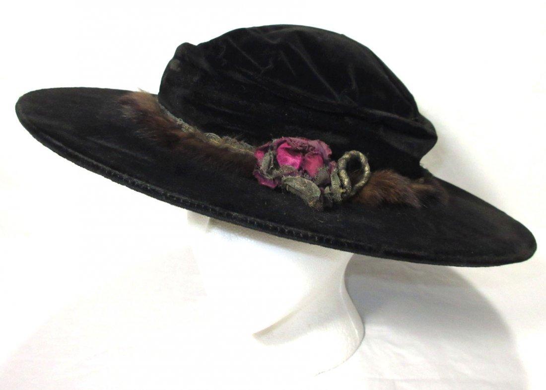Black Velvet Edwardian Hat