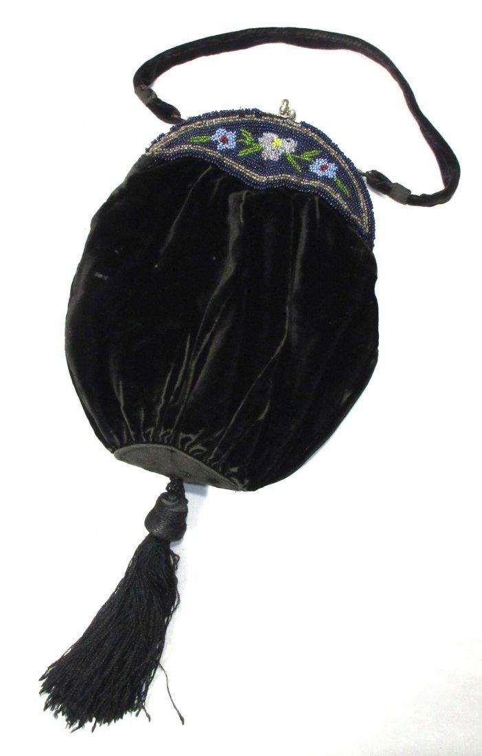 Edwardian Black Velvet Handbag