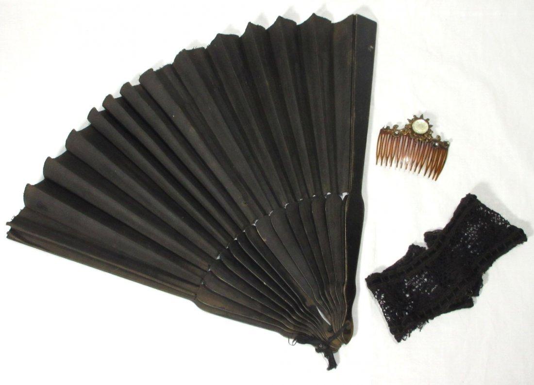 Edwardian Hair Comb, Fan & Lace Collar