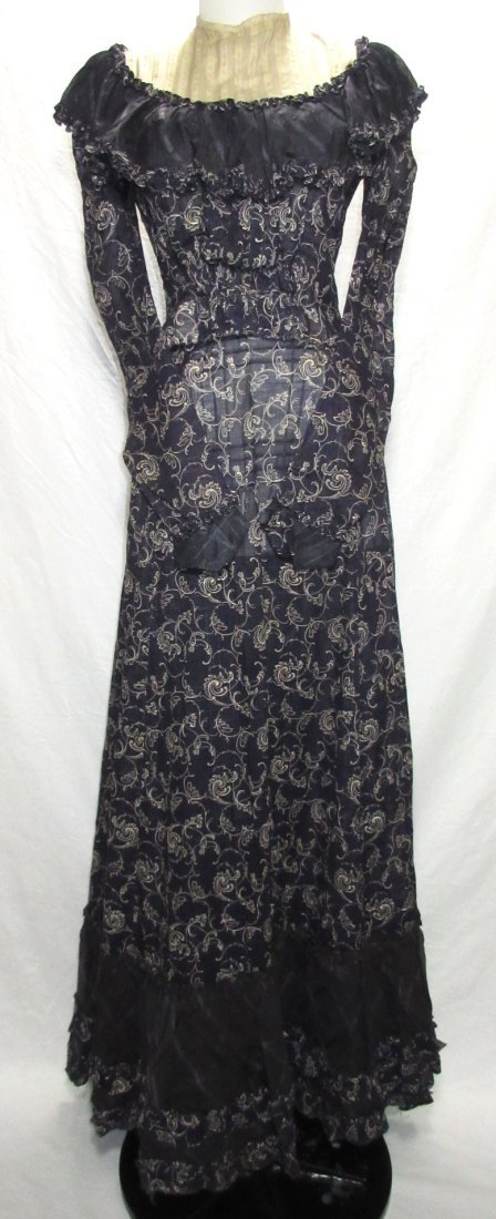 2 Pc. Dark Copenhagen Blue Edwardian Dress