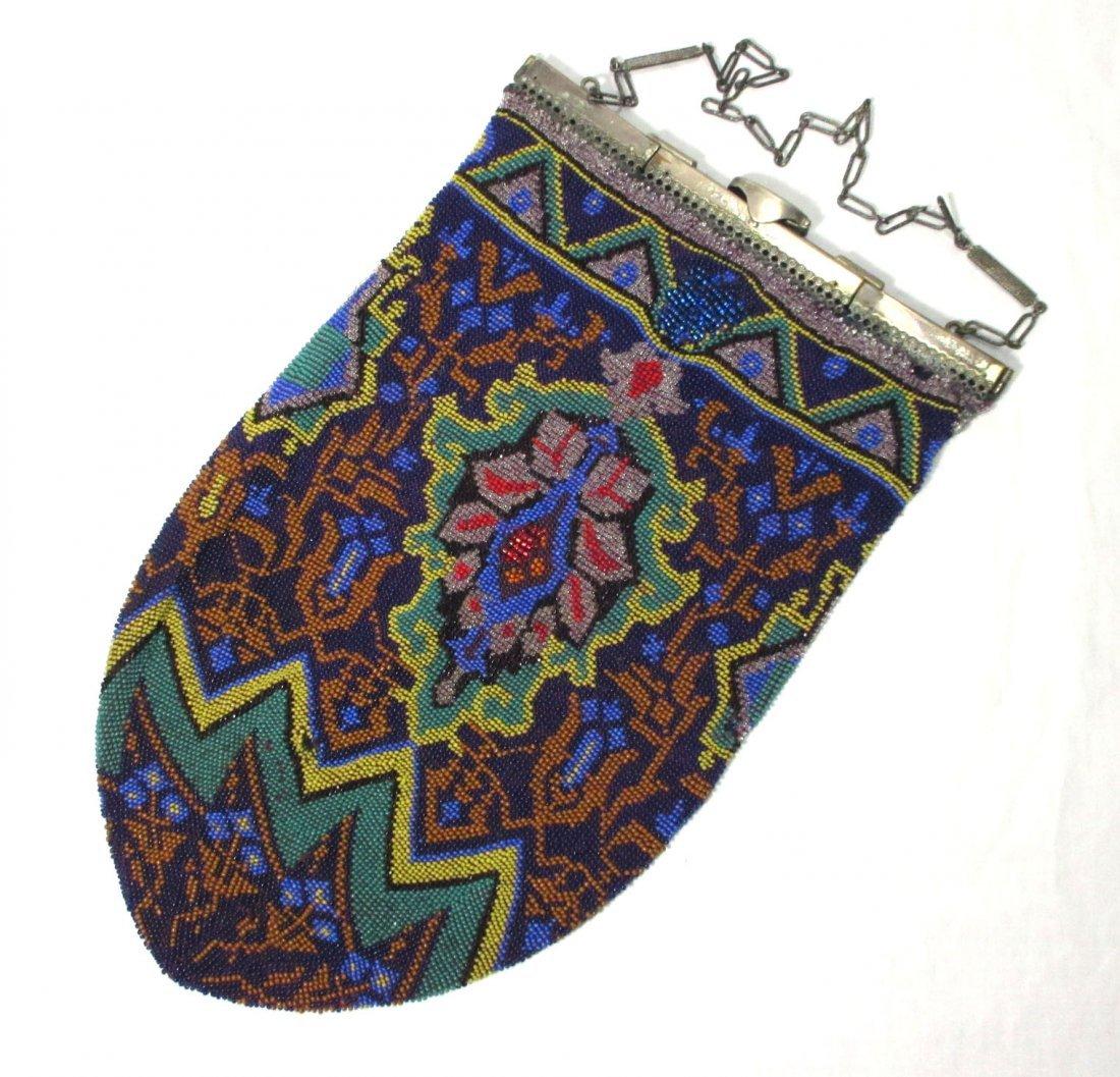 Square Hinged Colorful Beaded Edwardian Bag