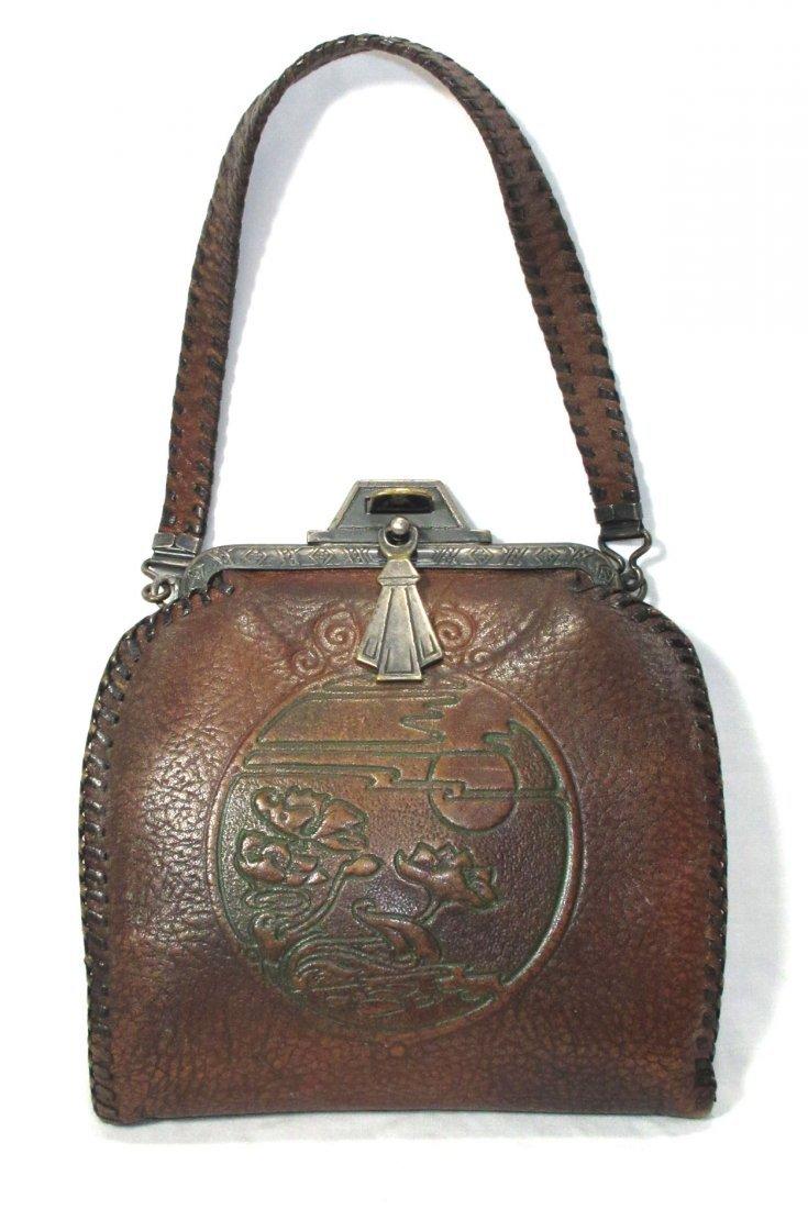 Edwardian/Art Nouveau Brown Leather Hand Bag