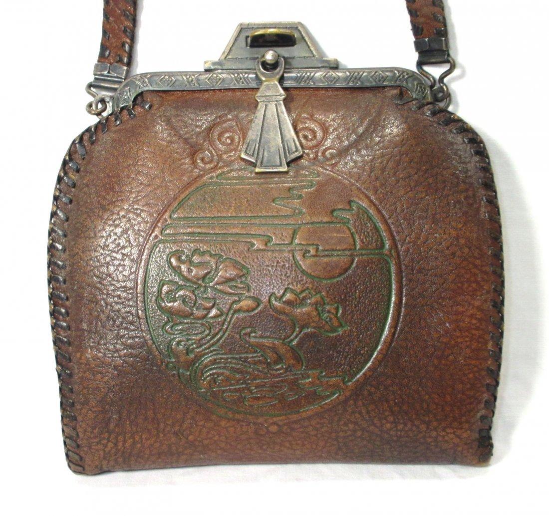 Edwardian/Art Nouveau Brown Leather Hand Bag - 2