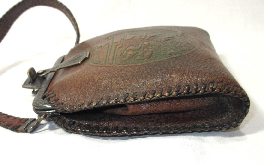 Edwardian/Art Nouveau Brown Leather Hand Bag - 3