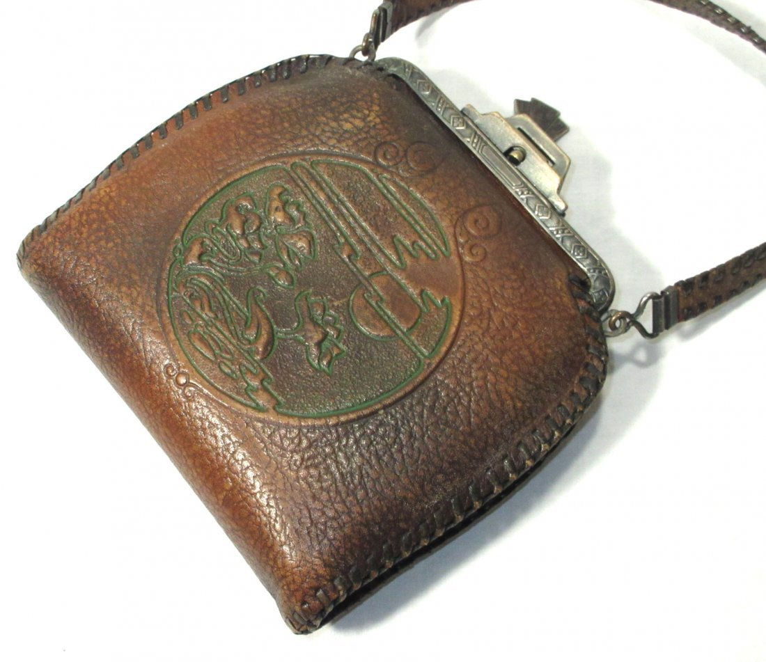 Edwardian/Art Nouveau Brown Leather Hand Bag - 4