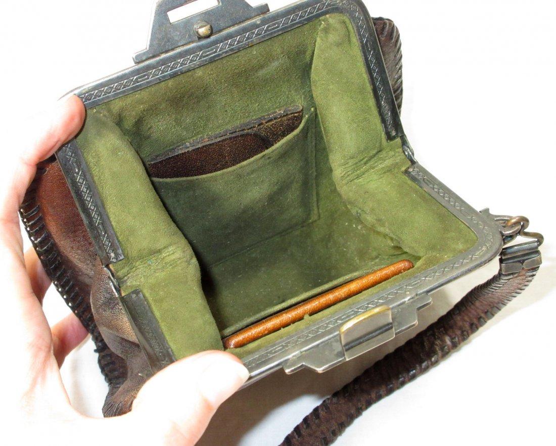 Edwardian/Art Nouveau Brown Leather Hand Bag - 5