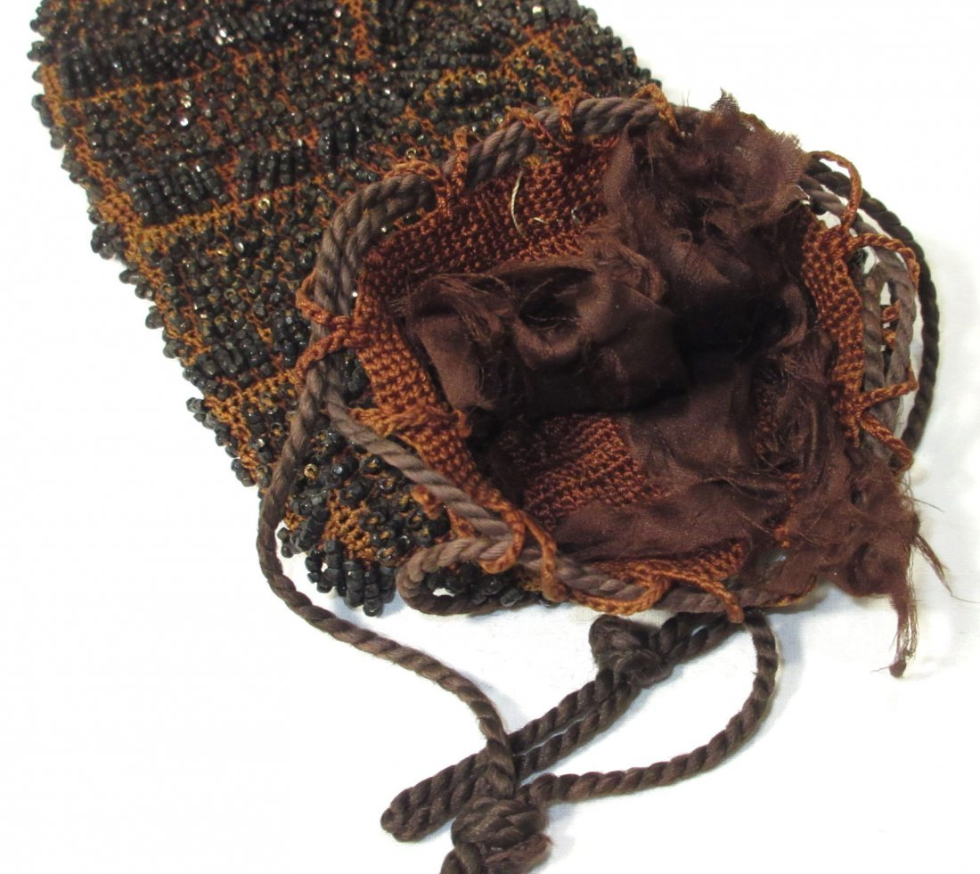 Lovely Jet Bead Crochet Edwardian Drawstring Bag - 3