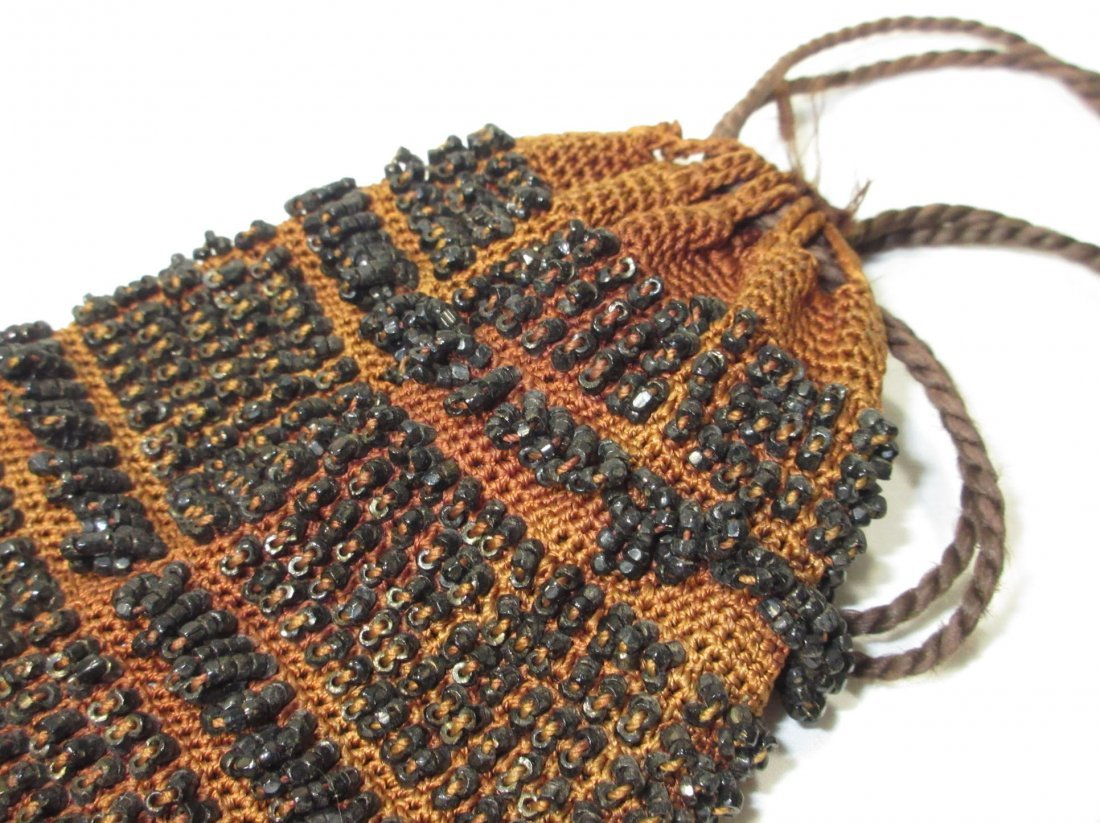Lovely Jet Bead Crochet Edwardian Drawstring Bag - 4