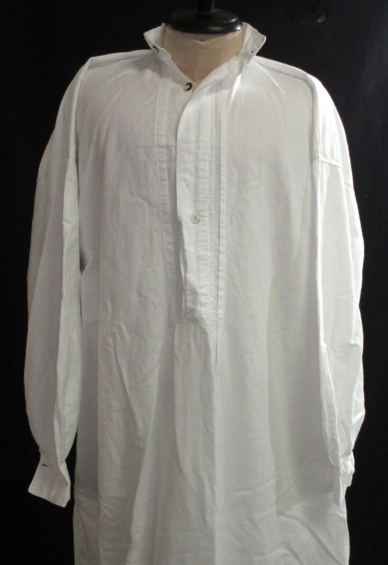 Edwardian Cotton Men's Sleep Dress/Shirt - 2
