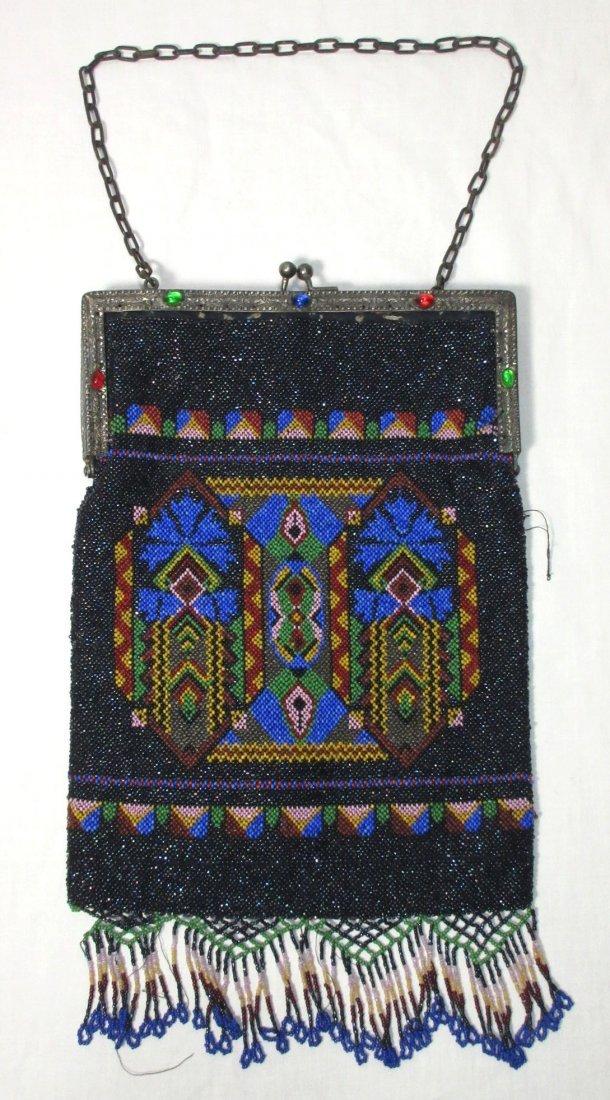 Bohemian Geometric Micro Bead Gls Jeweled Bag - 2