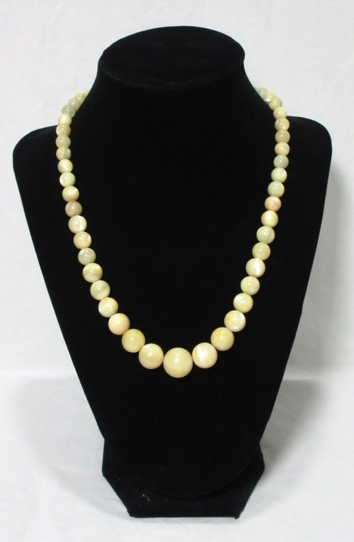 Lovely 1920's Polished MOP Bead Necklace