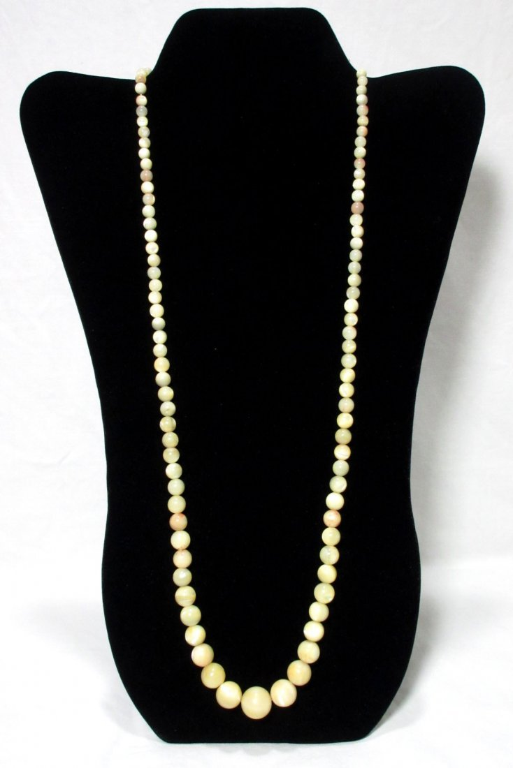 Lovely 1920's Polished MOP Bead Necklace - 2