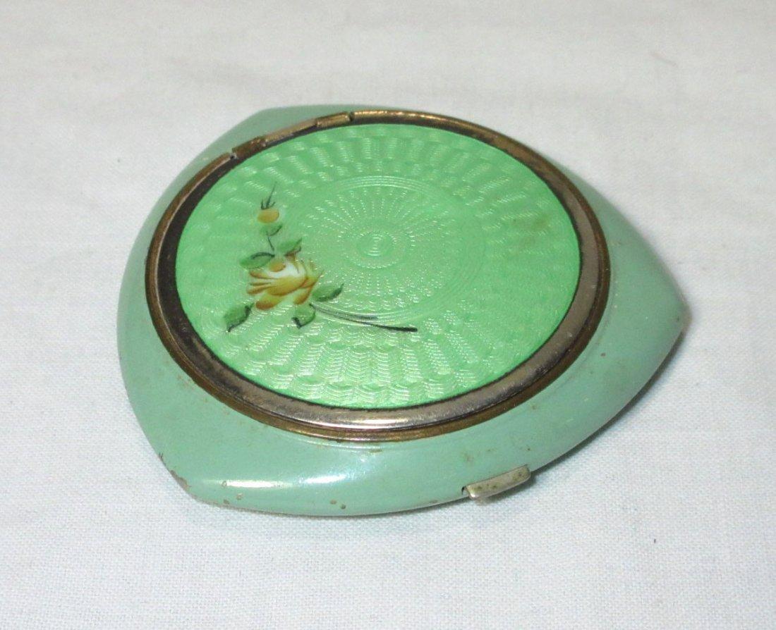 Evans Guilloche' Green Enameled Powder Vanity Case