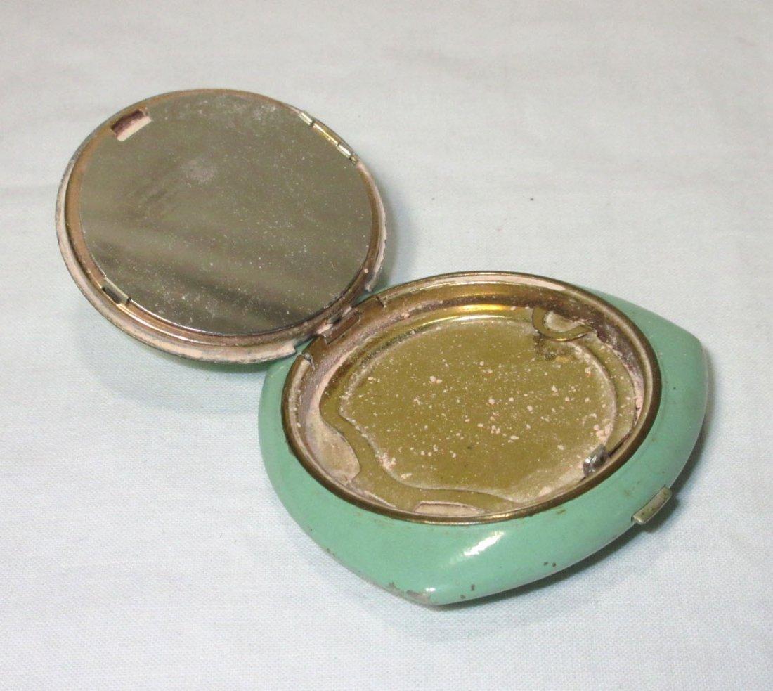 Evans Guilloche' Green Enameled Powder Vanity Case - 3