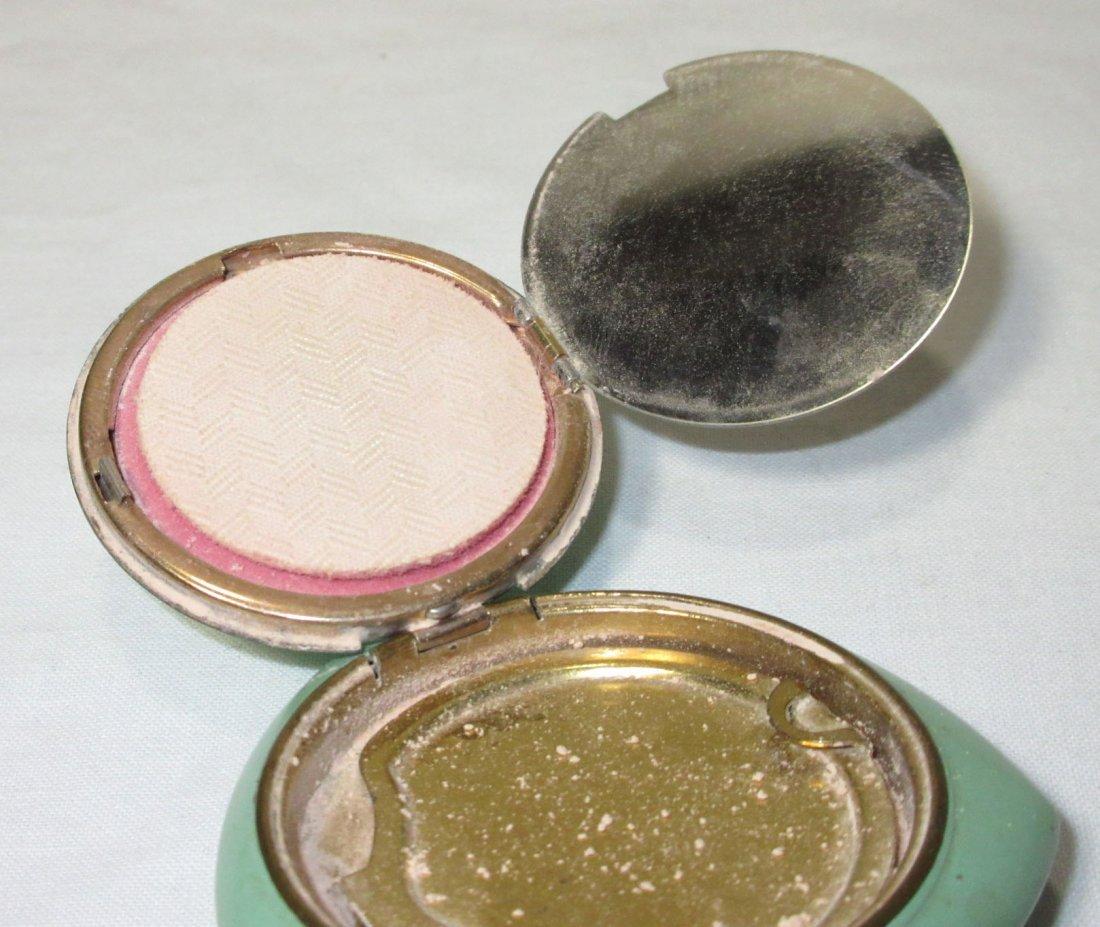 Evans Guilloche' Green Enameled Powder Vanity Case - 4