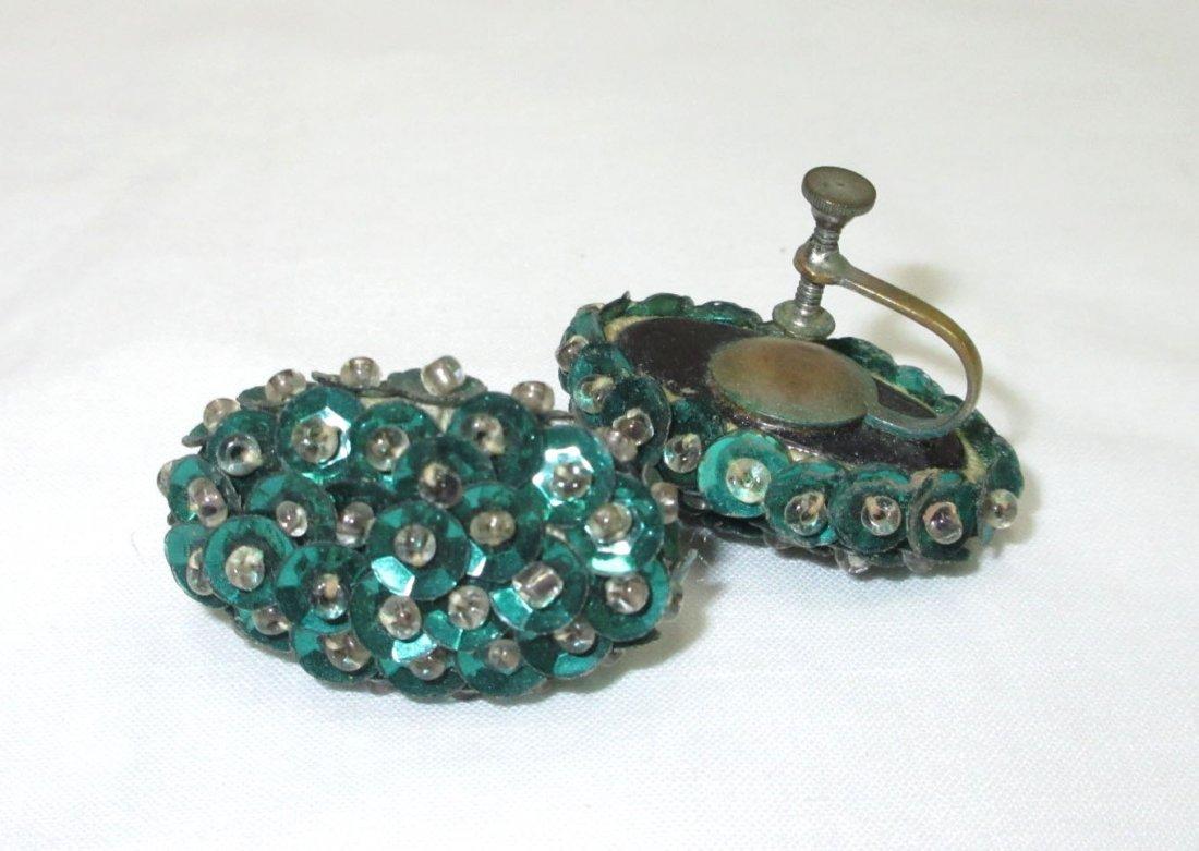 3pr.'s Sequined 1930's Earrings - 2