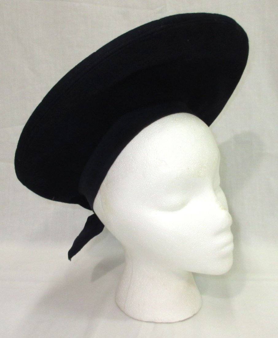 Fashionable Wool Off-The-Face Black Hat - 2