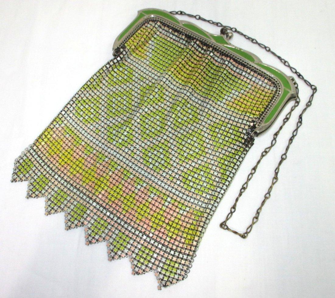 30's Whiting & Davis Enam Deco Armor Mesh Bag
