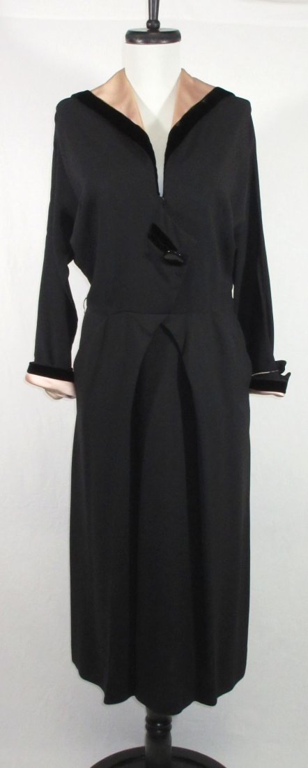 Fabulous 1940's Black Crepe/Pink Satin/Blk Velvet Dress
