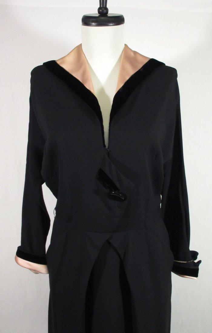 Fabulous 1940's Black Crepe/Pink Satin/Blk Velvet Dress - 2