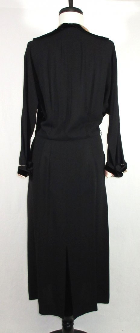 Fabulous 1940's Black Crepe/Pink Satin/Blk Velvet Dress - 5