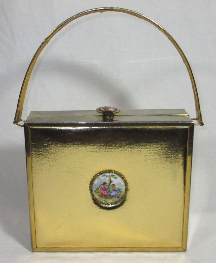 TYROLEAN Gold 1940's N.Y. Box Purse,Book Pc.