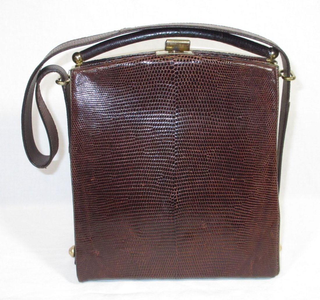 1940's Great, Brown, Lizard Handbag