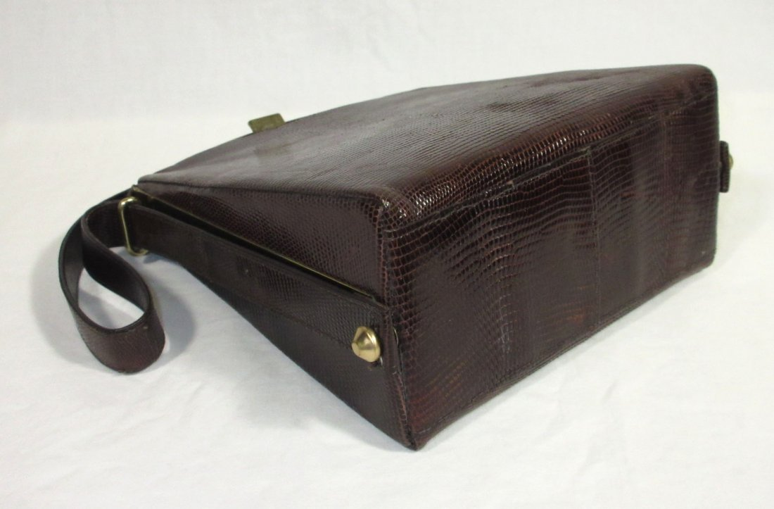 1940's Great, Brown, Lizard Handbag - 4