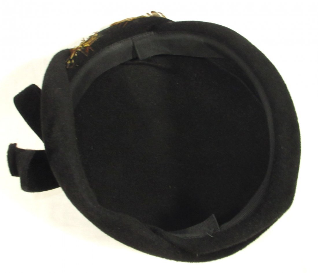 40's Black Wool Felt Beret with Pheasant Feathers - 6