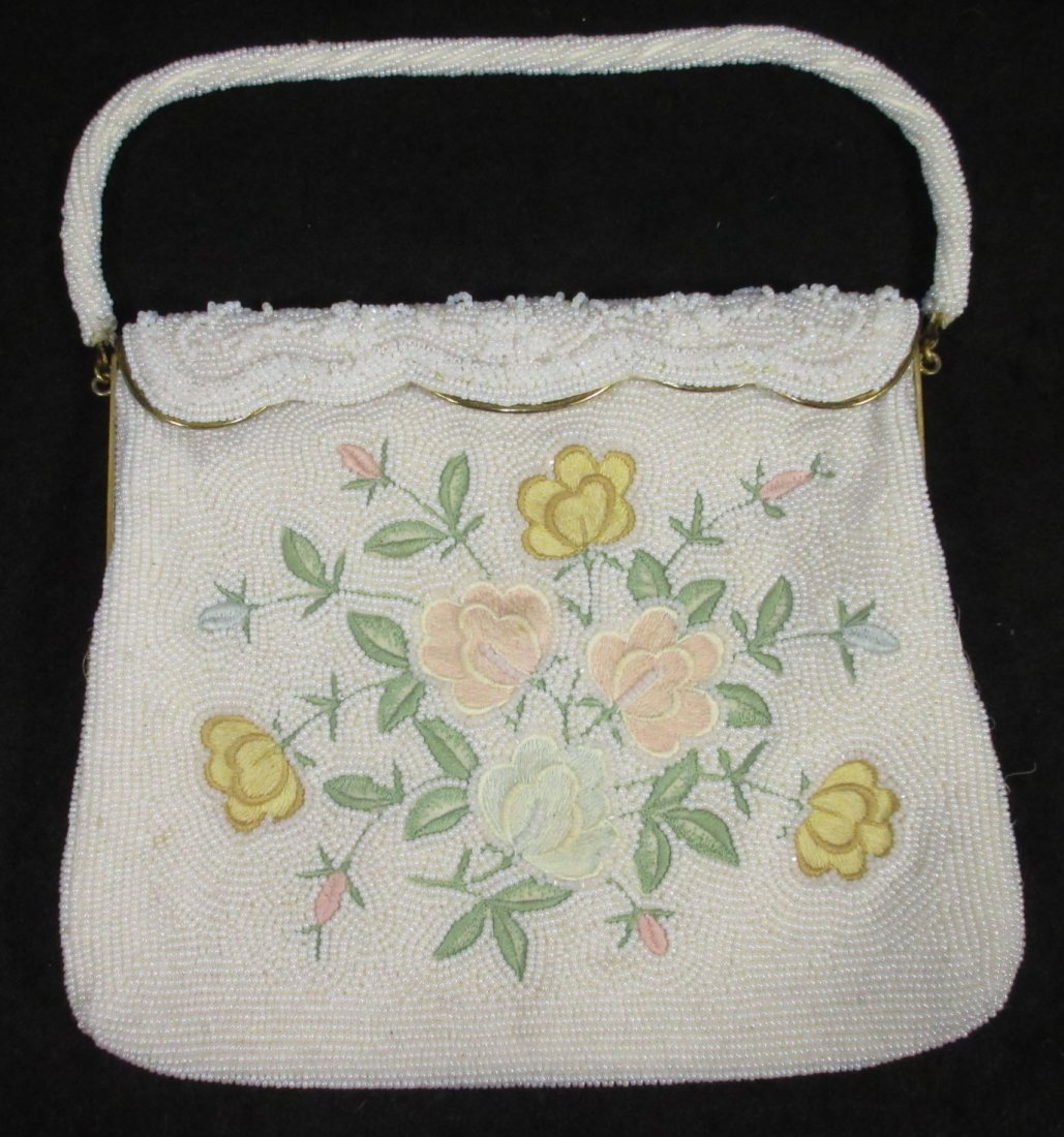 1940's White Seed Bead, Floral Embroidered Bag