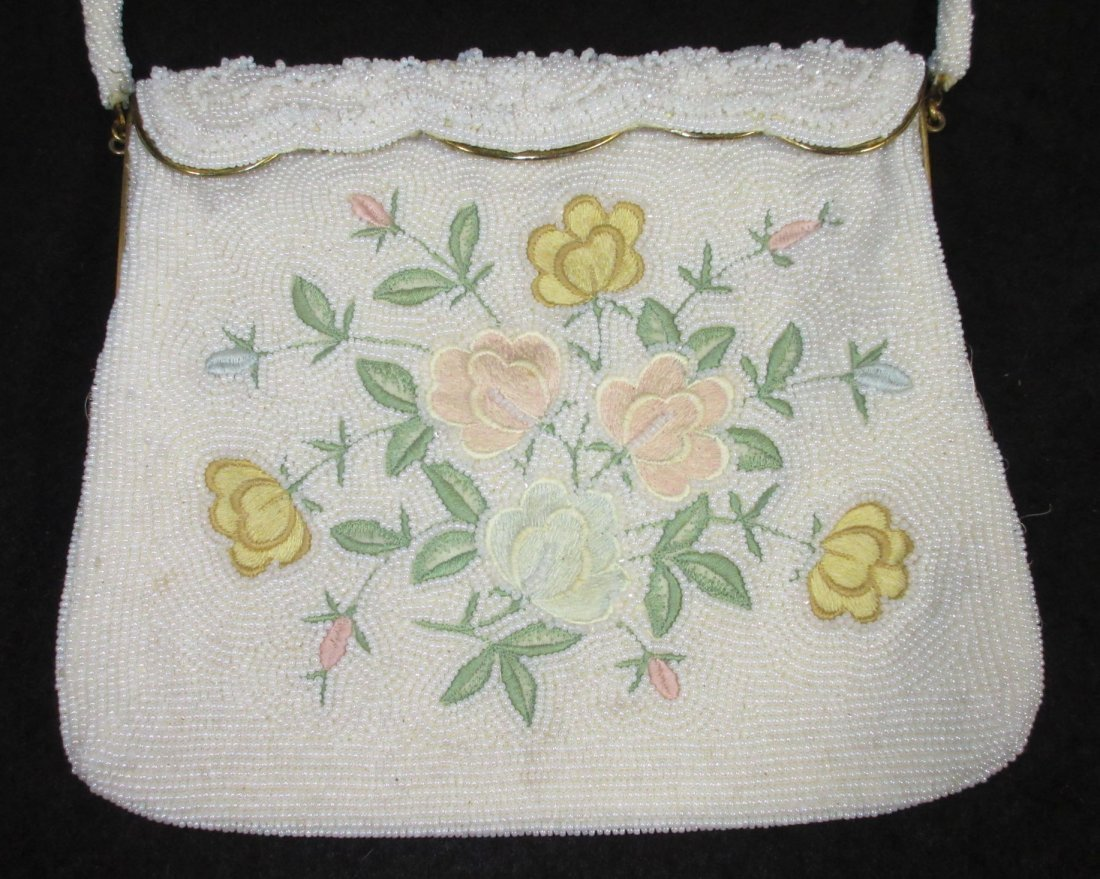 1940's White Seed Bead, Floral Embroidered Bag - 2