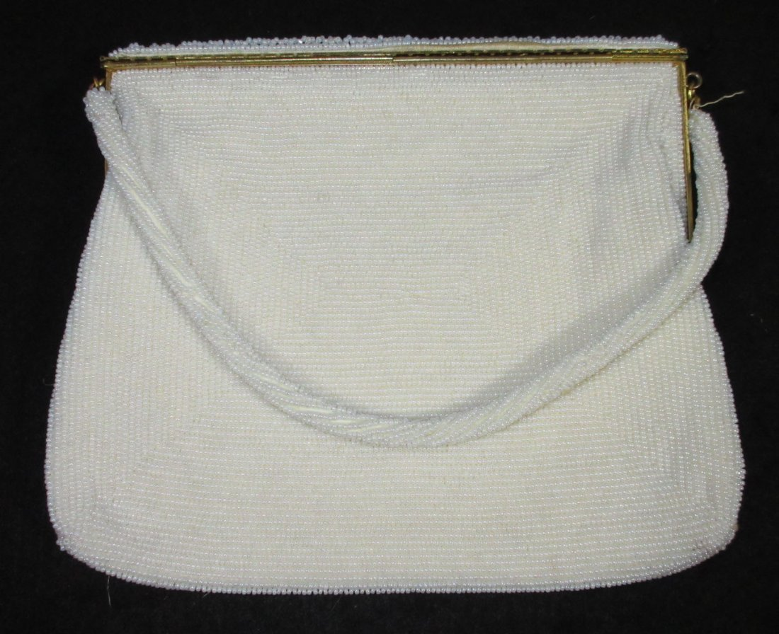 1940's White Seed Bead, Floral Embroidered Bag - 3