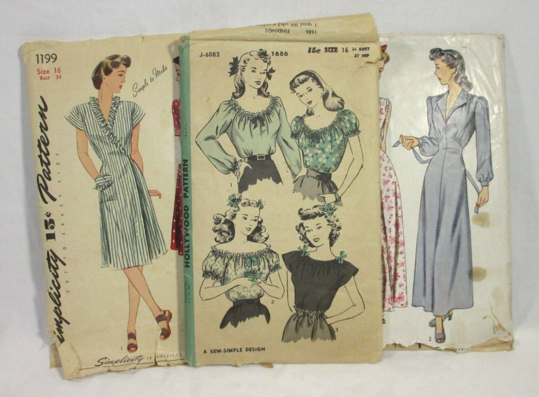 1940's Original Dress Patterns, 3pc. Bust 34/36""