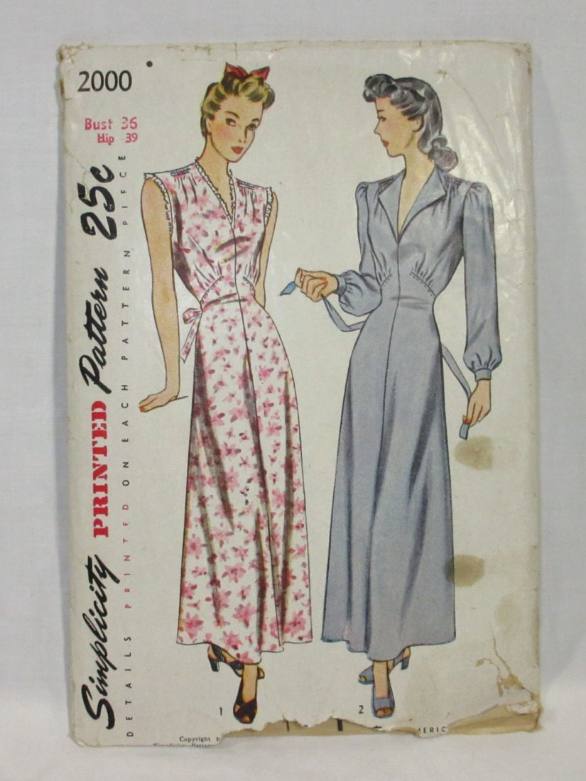 "1940's Original Dress Patterns, 3pc. Bust 34/36"" - 2"