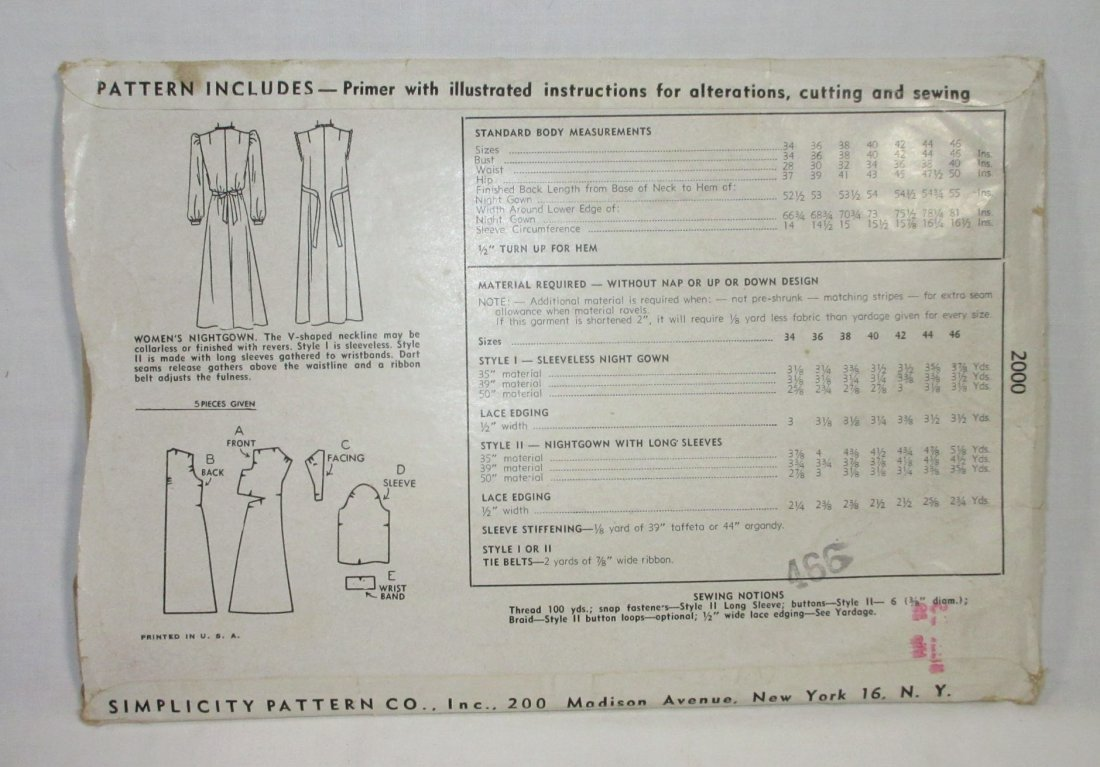 "1940's Original Dress Patterns, 3pc. Bust 34/36"" - 3"