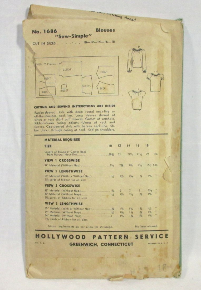 "1940's Original Dress Patterns, 3pc. Bust 34/36"" - 5"