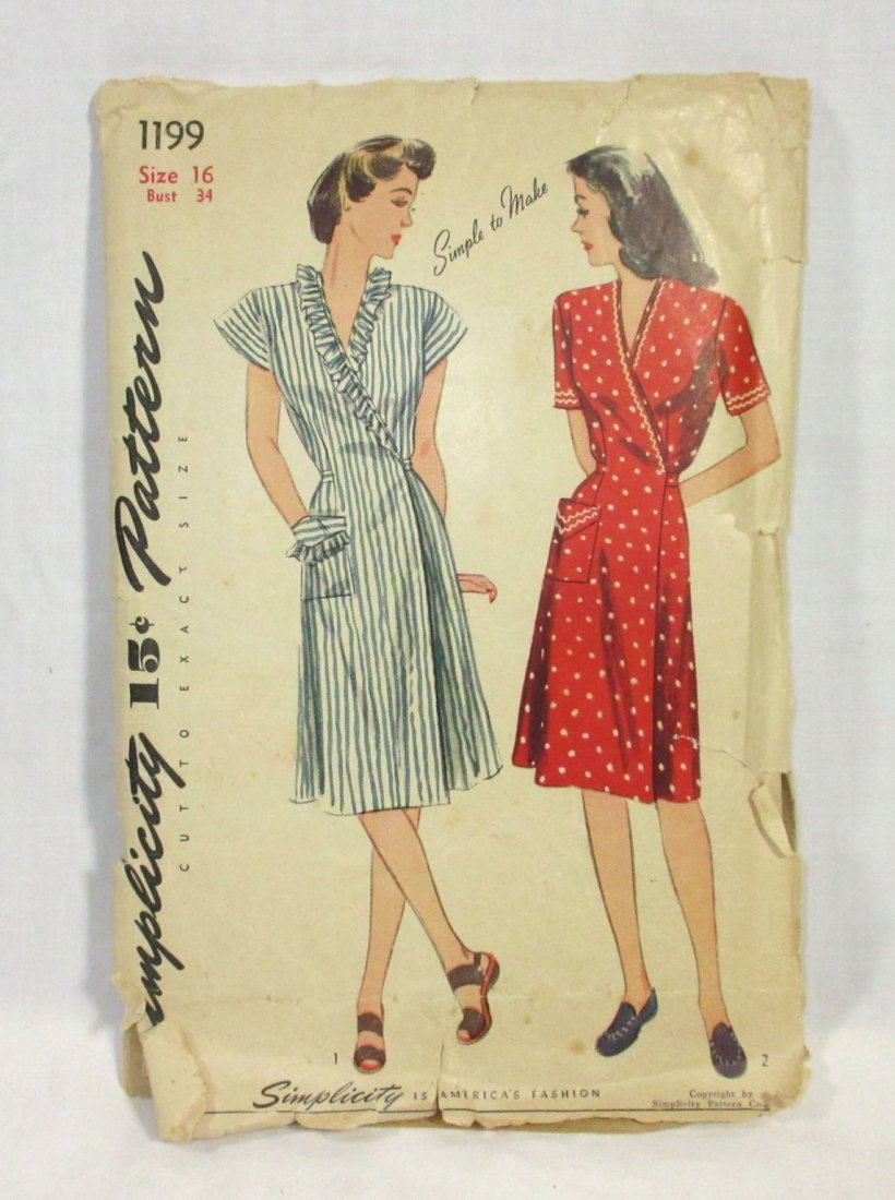"1940's Original Dress Patterns, 3pc. Bust 34/36"" - 6"