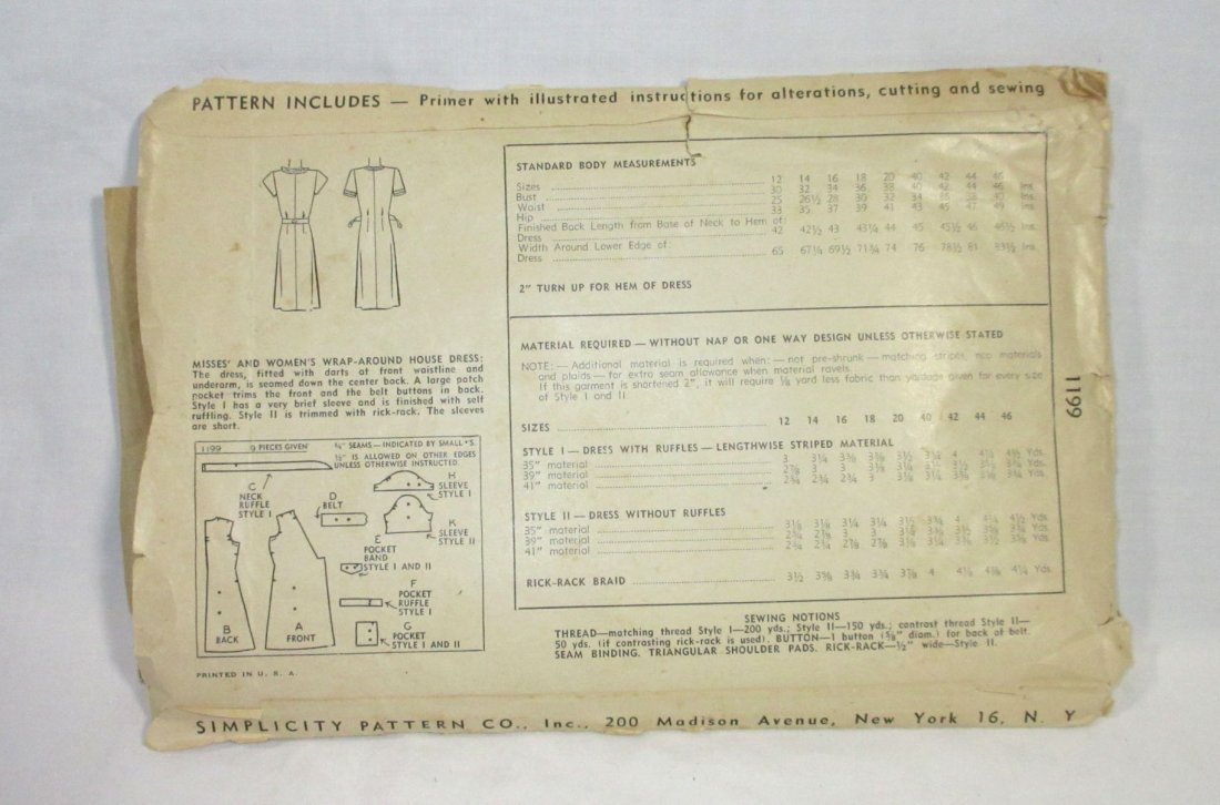 "1940's Original Dress Patterns, 3pc. Bust 34/36"" - 7"