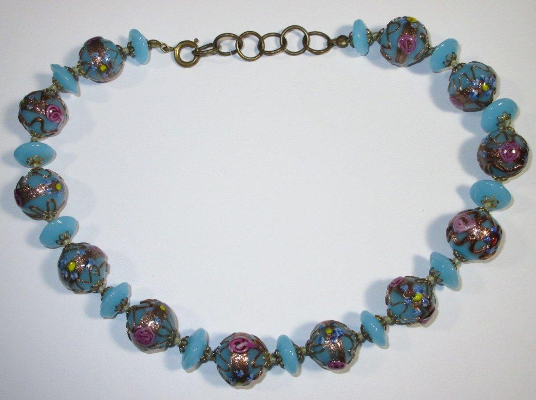 Beautiful Blue Wedding Cake Bead H.T.'d Choker - 2