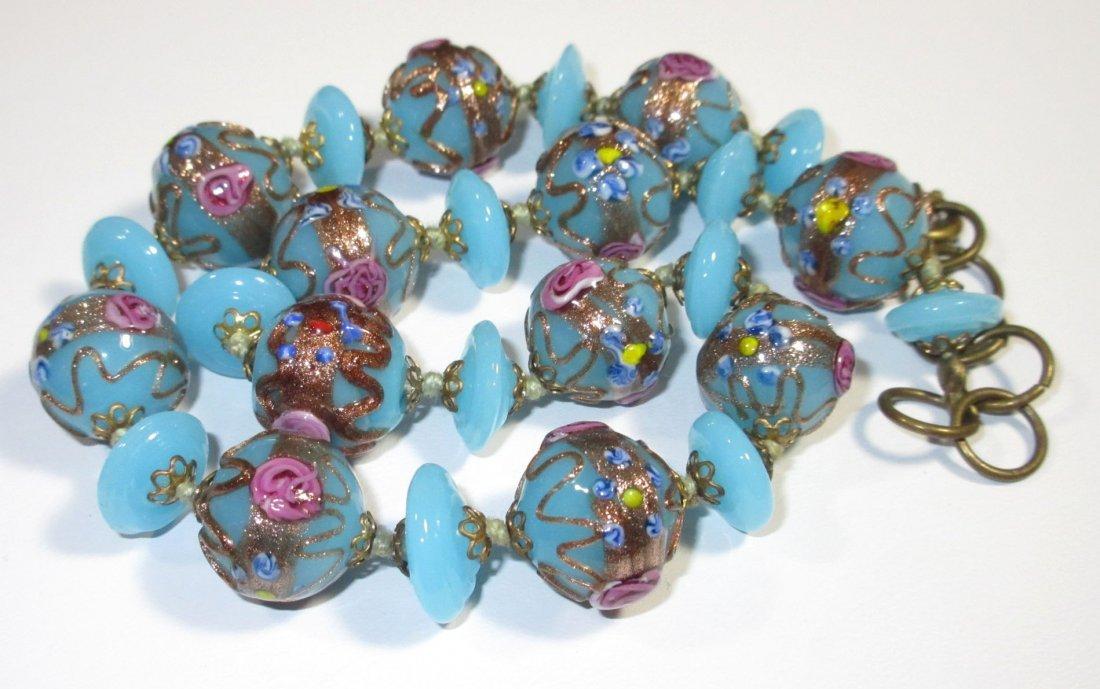 Beautiful Blue Wedding Cake Bead H.T.'d Choker - 3