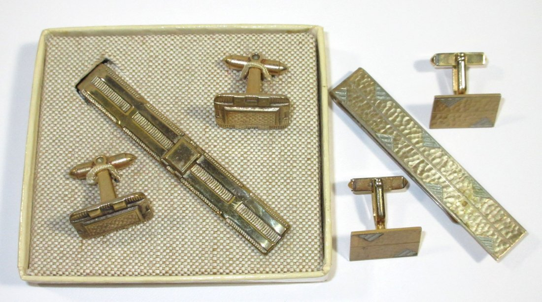 2-1940's Tie Bar Cuff Link Sets