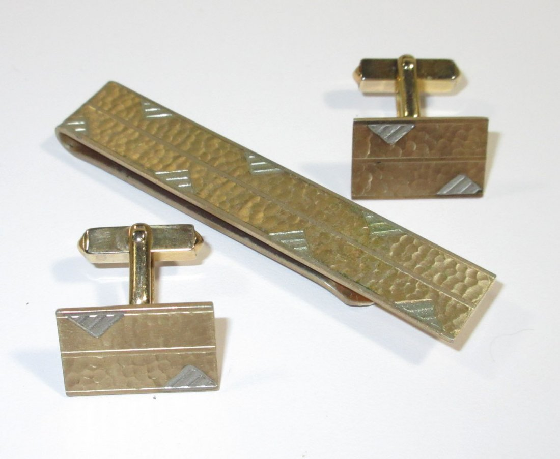 2-1940's Tie Bar Cuff Link Sets - 4
