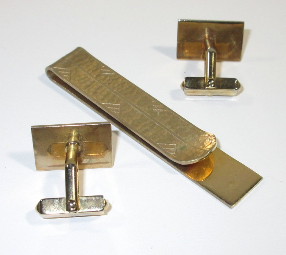 2-1940's Tie Bar Cuff Link Sets - 5