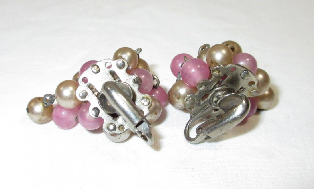 1940's Iconic Cluster Drop Glass Bead Earrings - 3
