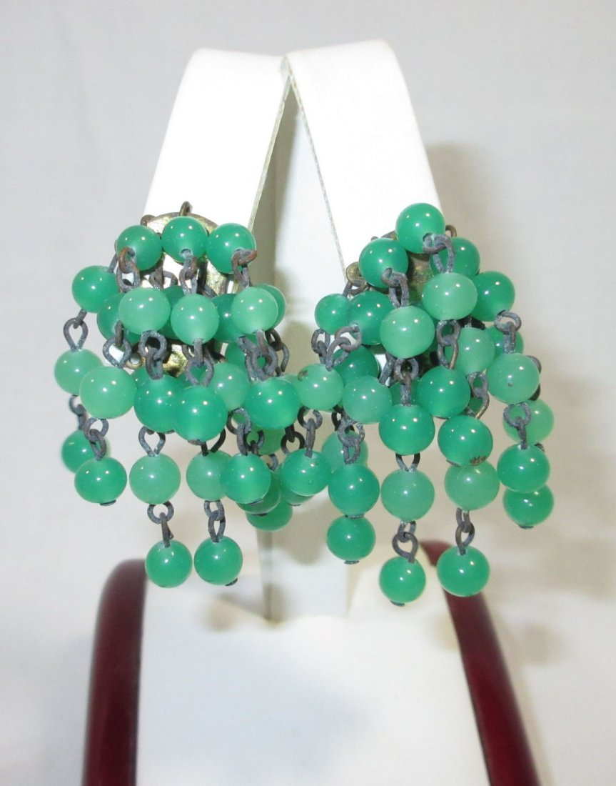1940's Iconic Cluster Drop Glass Bead Earrings - 4