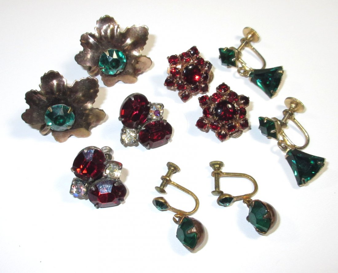 5 Pr.'s of Lovely Emerald, Red Glass Earrings